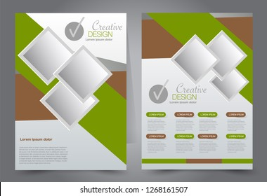 Flyer template. Brochur design for a business, education, advertisement. A4 poster layout Vector illustration. Brown and green color.