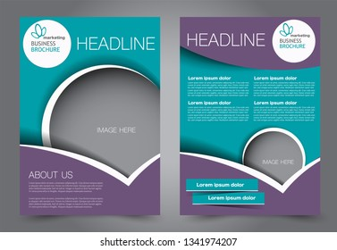 Flyer template. Brochur design for a business, education, advertisement. A4 poster layout Vector illustration. Blue and purple color.