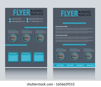 Flyer template. Brochure for business, education, presentation, advertisement. Annual report cover. Grey and blue color. Vector illustration.