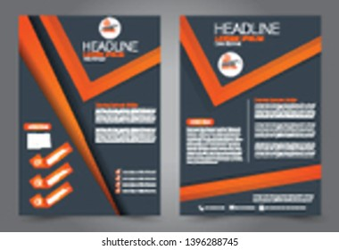 Flyer template. Brochure cover design. Advertisement concept for school, business, report, magazine, book. Orange and grey color. Editable vector illustration.