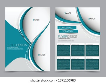 Flyer template. Brochure design for a business, education, advertisement. A4 poster layout Vector illustration. Blue and blue color.