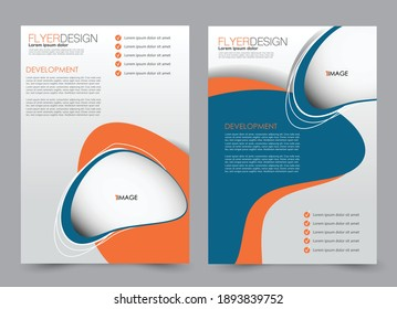 Flyer template. Brochure design for a business, education, advertisement. A4 poster layout Vector illustration. Blue and orange color.
