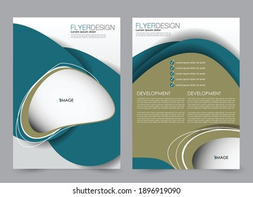 Flyer template. Brochure design for a business, education, advertisement. A4 poster layout Vector illustration. Blue and green color.