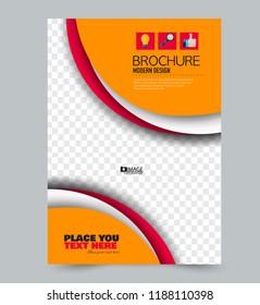 Flyer template. Design for a business, education, advertisement brochure, poster or pamphlet. Vector illustration. Orange and red color.