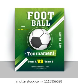 Flyer or template design in green color with match details and abstract elements for football tournament concept.
