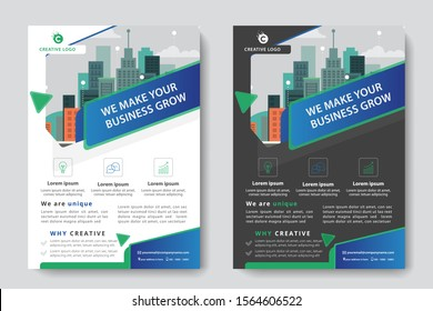 Flyer Template Design poster brochure cover design layout background, two colors scheme, vector