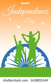 Flyer template for Happy Independence Day of India in the colors of the national flag. Vector image of the Ashok Chakra Dharmachakra Wheel of Law and a silhouettes of three doves over joy a family.