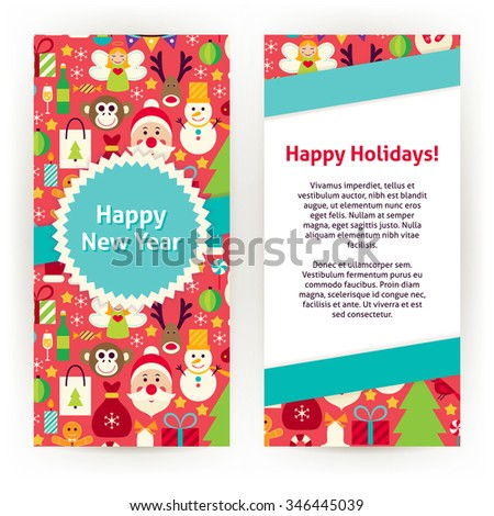 flyer template of happy new year objects and elements flat style design vector illustration of