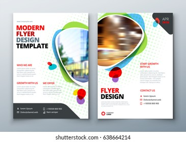 Flyer template layout design. Business flyer, brochure, magazine or flier mockup in bright colors. Vector flyer