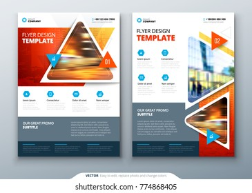Flyer template layout design. Business flyer, brochure, magazine or flier mockup with triangular in bright colors. Vector