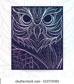 Flyer template with patterned owl. Tattoo design. It may be used for design of a t-shirt, bag, postcard, a poster, brochure and so on. Cover template with owl