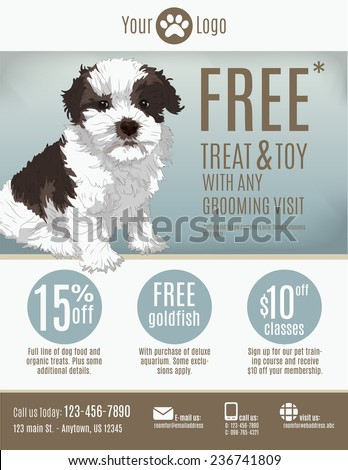 Flyer Template Pet Store Groomer Discount Stock Vector (Royalty Free ...