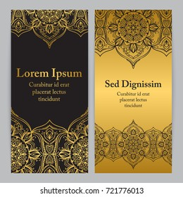 Flyer template set with flower ornament  in gold color