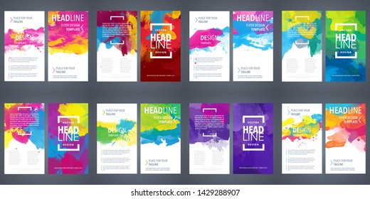 flyer template set folder big bundle set of bright vector colorful watercolor background useful for any project where a platter of color makes the difference for poster brochure or flyer flyer templat