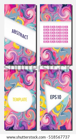 Flyer Template Set Marble Texture Backgrounds Stock Vector Royalty