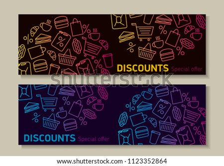 flyer template shop discounts announcement linear stock vector