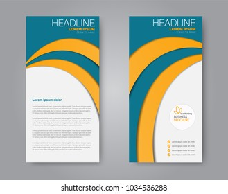 Flyer template. Vectical banner design. Modern abstract two side brochure background. Vector illustration. Orange and blue color.