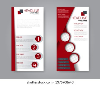 Flyer template. Vectical banner design. Modern abstract two side narrow brochure background. Vector illustration. Red color.