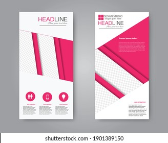 Flyer template. Vertical banner design. Modern abstract two side narrow brochure background. Vector illustration. Pink color.