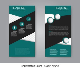 Flyer template. Vertical banner design. Modern abstract two side narrow brochure background. Vector illustration. Green and black color.