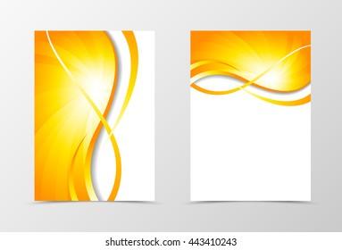 Flyer template vortex design. Abstract flyer template with gold wavy lines. Swirl wave spectrum flyer design. Vector illustration