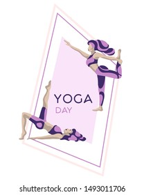 Flyer template for yoga retreat or yoga studio. Yoga day banner. Vector design template with women in asanas poses.