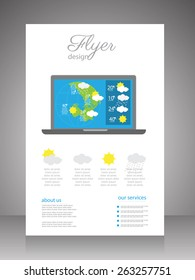 flyer.brochure template with weather forecast. vector
