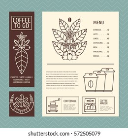 Flyers coffee menu design with a new linear style
