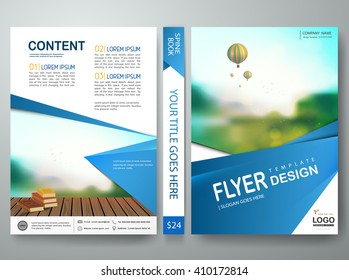 Flyers design template vector. Brochure report business magazine poster. Cover book portfolio presentation and abstract blue shape. Layout in A4 size.