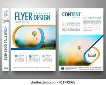 Flyers design template vector. Brochure report business magazine. Cover book portfolio presentation and abstract blue shape on poster. City concept in A4 layout.