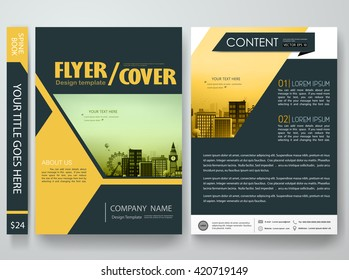 Flyers design template vector. Brochure report business magazine poster. Cover book minimal portfolio presentation. Abstract yellow shape and city concept in A4 layout.