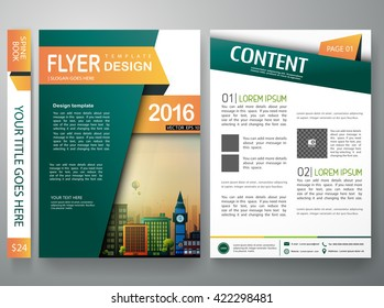 Flyers design template vector. Brochure report business magazine. Cover book minimal portfolio presentation and abstract green shape on poster. City concept in A4 layout