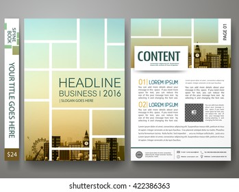 Flyers design template vector. Brochure report business magazine poster. Cover book minimal portfolio leaflet or presentation with abstract square and city background. Layout in A4 size.