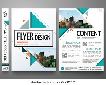 Flyers design template vector. Brochure report business magazine poster. Abstract green cover book portfolio presentation in flat orange triangle. City concept in A4 layout.