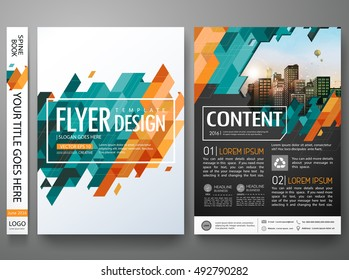 Flyers design template vector. Brochure report business magazine poster. Abstract green cover book portfolio presentation and flat yellow triangle. City concept in A4 layout.