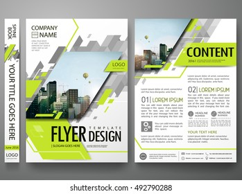 Flyers design template vector. Brochure report business magazine. Abstract green cover book minimal portfolio presentation.Flat square triangles on poster. City concept in A4 layout.