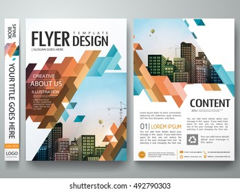 Flyers design template vector. Brochure report business magazine poster. Abstract blue cover book portfolio presentation and flat orange triangle. City concept in A4 layout.