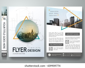 Flyers design template vector. Business brochure report magazine poster. Cover book portfolio presentation and abstract green triangle. City concept in A4 layout.