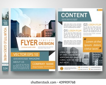 Flyers design template vector. City concept on a4 layout.Cover book portfolio presentation. Green orange shape on poster. Minimal brochure report business magazine.
