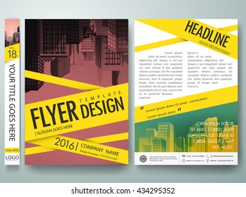 Flyers design template vector. Cover book portfolio presentation and crime scene tape. Brochure report business magazine poster. City on a4 layout.