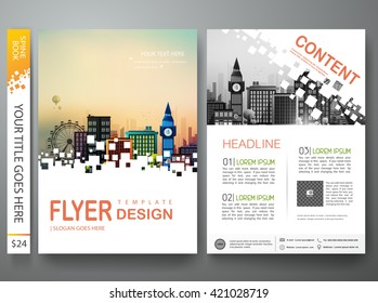 Flyers design template vector. Modern brochure annual report business magazine poster and portfolio. Minimal cover book and presentation with creative abstract square. Layout in A4 size.