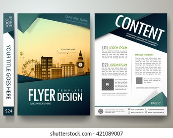 Flyers design template vector. Modern brochure report business magazine. Cover book portfolio presentation and abstract green shape on poster. City concept in A4 layout.