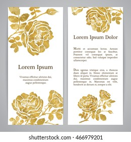 Flyers with floral pattern - rose graphic flowers in gold color