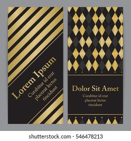 Flyers with patterns in gold and black. For invitation, post card or banner.
