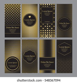 Flyers with patterns in gold and black - polka dots and halftone. For invitation, post card or banner.
