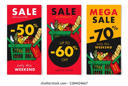 Flyers set for grocery store with sale advertising, with shopping basket full of meal goods, fresh food in linear graphic, leaflet with percentage discount up to 50, 60 and 70 per cent