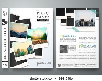 Flyers template vector. Photography brochure report business magazine poster. Cover book postcard minimal portfolio or presentation with picture design. Layout in A4 size.