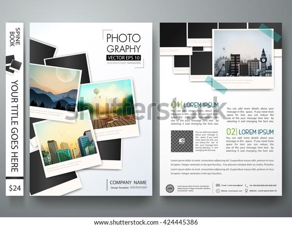 Вектор шаблона листовки. Фотография брошюра отчет бизнес-журнал плакат. Обложка книги открытки минимальный портфель или презентация с дизайном изображения. Макет формата A4.