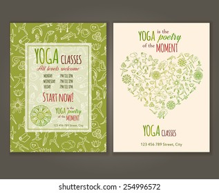 Flyers template for yoga class. Yoga quote. Yoga Vector seamless pattern is under clipping mask.