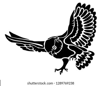 Flyig owl silhouette. Wild animal. Vector illustration isolated on white background. Suitable for laser or die cutting. Template. Window art. Stamp. Simple illustration. Sticker.